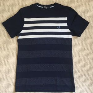 Fred Perry Men's Navy Stripe Short Sleeve T-Shirt